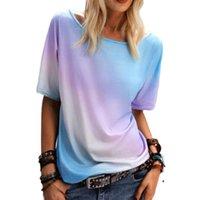 Women's T-Shirt Women Gradient Print T-Shirts Lady O-Neck Top Short Sleeve Streetwear Loose Tops Summer Casual Tee
