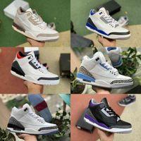 Jumpman Racer Mavi 3 3s Basketbol Ayakkabı Erkek Serin Gri Bir Ma Maniere UNC Parçası Jordán Mahkemesi Mor Denim Kırmızı Siyah Çimento Saf Beyaz Seul Spor Eğitmenler Sneakers