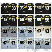 NCAA Vintage Retro Football N. 43 Troy Polamalu 33 Merril Hoge 36 Jerome Bettis 47 Mel Blount 52 Webster 58 Jack Lambert Stitched Men Jerseys