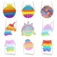Kawaii Cute Bag Fidget Toys Push Its Bubble Stress Reliever Rainbow Simpl Dimmer Antistress Children Sensory Toys Backpack