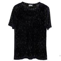 Bayan Erkekler Vogue Tasarımcısı T-Shirt Seksi Sheer Parti Kadın Mektup Baskı Için Polos Giyim T Shirt Üst Yaz Hip Hop Streetwear Moda Tee Adam Rahat Toprak Siyah