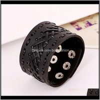 Charm Bracelets Jewelry Arrival Genuine Bracelet Wristband Mens Wide Leather With Snap Button For Men Women Jewelry Gifts1 Drop Delivery 2021
