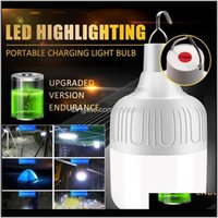 Lanterns Rechargeable Led Bulb Lamp Solar Charge Dimmable Portable Emergency Market Outdoor Camping Bbq Hanging Night Light I5E5Y Dyqyr