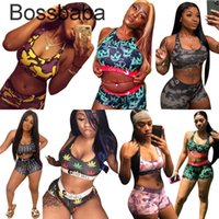 Женщины Двухструктурные брюки Купальники Ethika Купальники Купальники Шорты Установить Beachwear Высокое Качество Летние Бикини Печатная сращивание 835