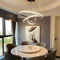 Haxin moderno lampada a sospensione LED 3/4/5 anelli cerchio soffitto appeso lampadario nero loft soggiorno sala da pranzo cucina illuminazione apparecchiatura