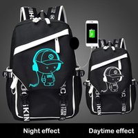 Backpack 2021 Men Luminous Animation School Bags For Teenagers Casual Student USB Charging Laptop Fashion Travel