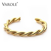 VAROLE Twisted Line Cuff Bracelets Bangles For Women Accessories Gold Color Fashion Jewelry Party Armband Gifts