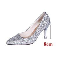 Dress Shoes Style Wedding Bride Shingle High-heeled Pointy Bridesmaid Gold Powder Crystal Banquet Bling High Heels Bridal