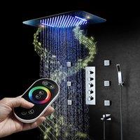 음악 LED 샤워 세트 스파 머리 큰 물 흐름 샤워 수도꼭지 믹서 온도 조절 마사지 제트 욕실 비 시스템 세트
