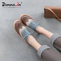 Donna w wiosennym Brogurze rzeźbione Oxfords dla kobiet Dorywczo prawdziwe skórzane koronki panie buty z obcasami mieszane kolor chaussures femme h1tl #