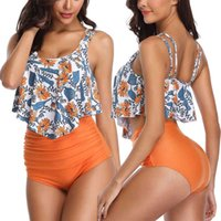 Combinaison de bain X0424 Vêtements de maillots de bain floraux Femmes Printemps Coréen Été 2019 Ruffly G Cup Plus de maillot de bain Bikini 2XL pour graisse Bikini à taille haute