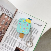 Cute Ice Cream Shape Case with Keychains for Airpods 1 2 Pro 3 Soft Silicone Flexible Cases Cover Cute Shockproof Earphone protector Wholesale Bulk 97230