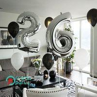 "Party Decoration 2pcs Big 32"" Silver Number Balloons Plus Foil Balloon 10 18 20 23 30 40 Anniversary Birthday Celebration Weddings Po Shoots"