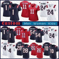1 кулачок Ньютон 10 Mac Jones Custom Men Women Kids Football Jersey 86 Hunter Henry 99 Мэтью Джудон 81 JONNU SMITH 37 DAMIEN HARRIS 11 Julian Edelman 24 Степин Гилмор