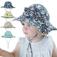 Baby Kids Sun Caps Grenadine Solid Colors Full Flowers Print Girl Summer Protect Neck Sunbonnet Ventilate Comfortable Visor With Bow ottie