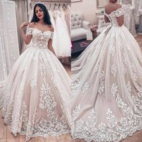 2021 Champagne A Line Wedding Dresses Bridal Gowns Off Shoulder Arabic Lace Appliques Beads Short Sleeves Corset Back Court Train Tulle Formal Ball Gown Plus Size