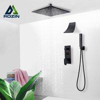 Conjuntos de chuveiro de banheiro Rozin Matte Preto Torneira Kit Escondido Display Digital Torneiras de Teto Montagem Cachoeira Rainfall Mixer Torneira