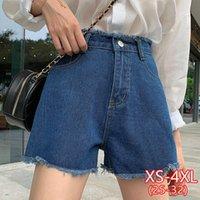 Mujer Denim Botón de tassel casual de cintura corta corta Zipr Jaen 4xl Talla grande Jean Woman Summer Wide Pierna Pantalones cortos de mujer