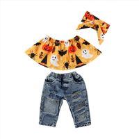 Toddler Kids Baby Girl Floral Off Shoulder Halloween Tops Denim Hole Pants Jeans Party Clothes Summer Fashion Set