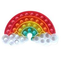 Arco-íris Puzzle Toy Sensory Fidget Brinquedos Pioneer Tie Dye Push Bubble Crianças Mathematical Lógica Silicone Fingertip Board Game G55eu2c