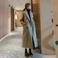 Women's Wool & Blends Autumn Winter Casual Blend Trench Coat Oversize Long Female Cashmere Outerwear