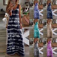 Women Dress V Neck Sleeveless Gradient Tie-Dye Striped Ladies Summer Fashion Casual Beach Bohemian Maxi Dress Plus Size 2021