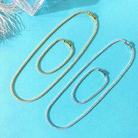 Earrings & Necklace Tennis Chain Luxury Zircon 2mm 4mmRound Shape Choker Bracelet Set For Women Dubai Jewelry Girl Wedding