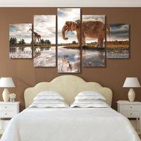 5pcs / set non accouché de mur d'art mural peinture animal éléphant salon affiches imprimées HD