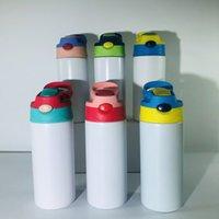 مستقيم 12 أوقية التسامي سيبي كوب 350 ملليلتر الأطفال البهلوان فارغة زجاجة المياه مع غطاء القش المحمولة الفولاذ المقاوم للصدأ شرب البهلوانات للأطفال 6 ألوان