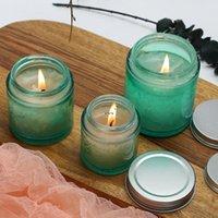 80 جرام 120 جرام 200 جرام الأخضر كبير الفم الزجاج جرة فارغة لرائحة الشموع diy اليدوية شمعة DWF6045