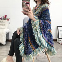 Swyivy Pullover Women Knitting Poncho Capes Autumn New 2021 Female Fashion Bohemian Poncho Cloak Tassel Winter Clothing