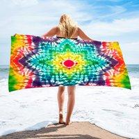 150*75 cm Microfiber Square Beach Towel Material Tie-Dye Series for Adult DWE7560