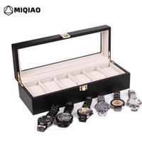Watch Boxes & Cases MIQIAO Luxury Wooden Black Mechanical Mens Watches Storage Holders Organizer Case 6 10 Grids Disply W502