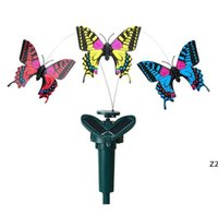 Garten Dekorationen Solar Power Tanzen Rotierende Schmetterlinge Flattern Vibration Kolibri Fliegende Vögel Gartengarten-Dekoration HWF11017