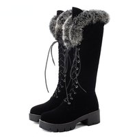 Boots Lace-up Winter Shoes Women Snow Real Fur Knee High Suede Thick Heel Warm Outdoor With Zip Big Size 43