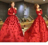 Luxus Rot Myriam Tarife Abendkleider High Neck Halfter Lange Ärmel Appliques Perlen Satin Ball Kleid Promi Kleider Formale Prom Kleider