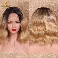 Aiva Hair Middle Part Cosplay Body Wave Wig Heat Resistant Synthetic Lace Front Blonde Ombre Wigs With Dark Roots For Women1