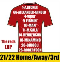 The Reds Futebol Jerseys 2021 2022 Homem Kit Kits Alexander-Arnold Henderson Football Jersey Fabinho Milner Robertson Diogo J Camiseta Camiseta de Futbol Mangas Curtas
