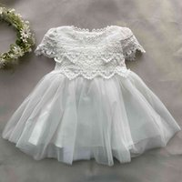 New-born baby girls Lolita dress infant white baptism laugh party costume baby moves princess dress for birthday 210506