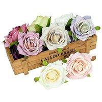 5 10pcs Artificial Flower Head Silk Fake Rose Faux Heads For Home Wedding Decor DIY Wreath Scrapbook Gift Box Accessories Decorative Flowers