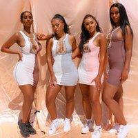 Fashion Women Sexy bandage Mini Dress Elegant Sleeveless Off Shoulder Hollow out Ladies Dresses Party Club Dames bodycon vestido