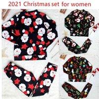 Santa Claus Print Christmas Tree 2 Pieces Set Long Sleeve O Neck Top T-shirt & Skinny Pant Two Piece Women Suit Pajamas 210507