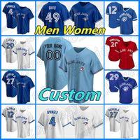 Custom Bell Baseball 4 George Springer Toronto 12 Roberto Alomar Jersey 27 Vladimir Guerrero Jr 10 Marcus Semien 8 Cavan Biggio Joe Carter