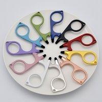 Party Gunst Metall Sicherheit Touchlose Türöffner Stylus Schlüsselhaken Hände Frei Griff Werkzeug Schlüsselanhänger mit Silikonkopf