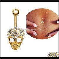 Bell Rings Drop Leverans 2021 Personlighet Fashion Retro Gold Skull Crystal Unisex Navel Belly Knapp 316L Medicinsk Stålkropp Piercing Jewel