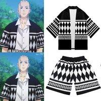 Etnisk Kläder Tokyo Revengers Kimono Anime Draken Cosplay Hanagaki Takemichi Ken Ryuguji Haori Cloak Black White Samurai kostym