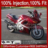Injektionsverkleidungen für Kawasaki Ninja ZZR-400 ZZR-600 ZZR400 93 94 95 96 97 98 99 00 84HC.0 ZZR600 ZZR 600 400 2001 2002 2003 2004 2005 2006 2007 OEM Body Kit Fabrik rot
