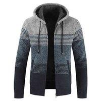 Aiopeson 2020 hiver hommes manteaux et vestes décontractés patchwork à capuche zippée manteaux de fermeture à glissière hommes mode de laine épaisse veste homme streetwear