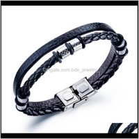 Charm Bracelets Jewelrymens Fashion Punk Titanium Steel Ring Braided Leather Magnetic Buckle Mens Casual Sports Bracelet Gifts Drop Delivery