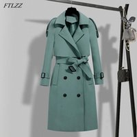 FTLZZ New Autumn Winter Elegant Women Double Breasted Solid Trench Coat Vintage Turn-down Collar Warm Trench with Belt 00Jb#